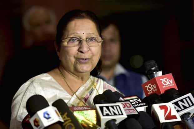 Lok Sabha speaker Sumitra Mahajan expressed displeasure over the conduct of Akshay Yadav and warned him to refrain from such from disorderly act in future. Photo: PTI