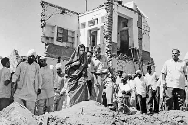 Indira Gandhi visiting areas in Amritsar bombed by the Pakistan air force on 26 September 1965, as the information and broadcasting minister. Photo: Courtesy Indira Gandhi Memorial Trust
