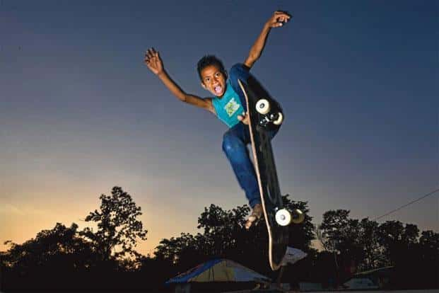 A young skateboarder at Janwaar Castle. Photo: Pratik Chorge/Hindustan Times