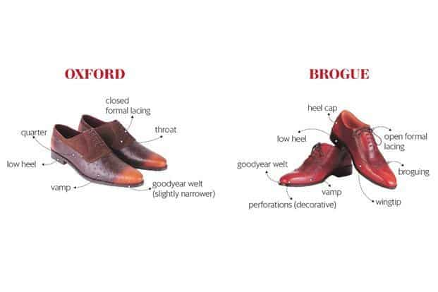 It is best to invest in a pair of tan- or wine-coloured brogues, or tan oxfords with hand-painted patina finishes.