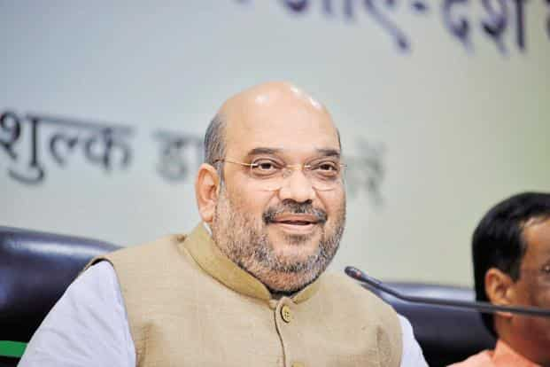 Amit Shah also hit out at former PM Manmohan Singh saying that being a economist he brought the growth rate down to 4%. Photo: Pradeep Gaur/Mint