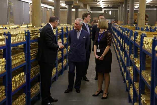 Britain's Prince Charles (2nd left) being shown around the gold vaults of the Bank of England. The Bank of England is the second largest keeper of gold in the world behind the New York Federal Reserve.  Photo: AP