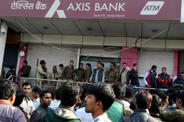 The Income Tax Department on 15 December had unearthed Rs60 crore from the accounts of 20 shell companies in a raid at the Axis bank branch in Noida. Photo: PTI