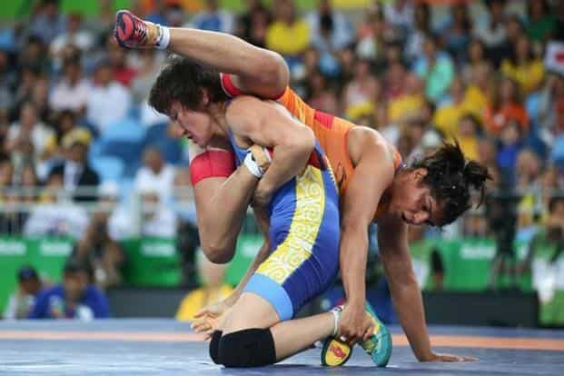 Sakshi Malik won bronze against Aisuluu Tynybekova at the Rio Olympics. Photo: Toru Hanai/Reuters