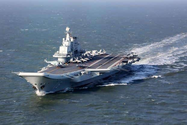 A file photo of Liaoning, China's only aircraft carrier, sailing during military drills in the Pacific. Photo: AFP