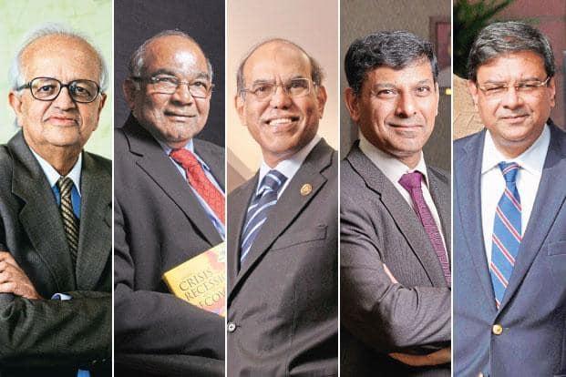 (From left) Former RBI governors Bimal Jalan, Y.V. Reddy, D. Subbarao and Raghuram Rajan, and current governor Urjit Patel.