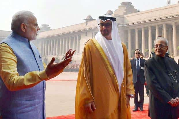 President Pranab Mukherjee (above right) and Prime Minister Narendra Modi with Sheikh Mohammed bin Zayed Al Nahyan (above centre), Crown Prince of Abu Dhabi during the ceremonial reception at the Rashtrapati Bhavan in New Delhi on Wednesday. The Crown Prince of Abu Dhabi will be the chief guest of honour at India's forthcoming 68th Republic Day celebrations on 26 January. PTI