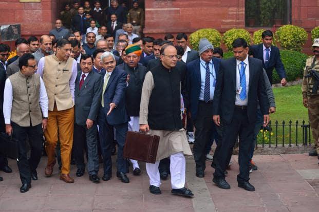 Finance minister Arun Jaitley along with his Budget team outside north block. Photo: Pradeep Gaur/Mint
