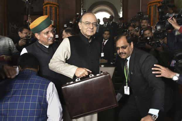 Finance Minister Arun Jaitley before presenting the budget in Parliament on Wednesday. Photo: Hindustan Times