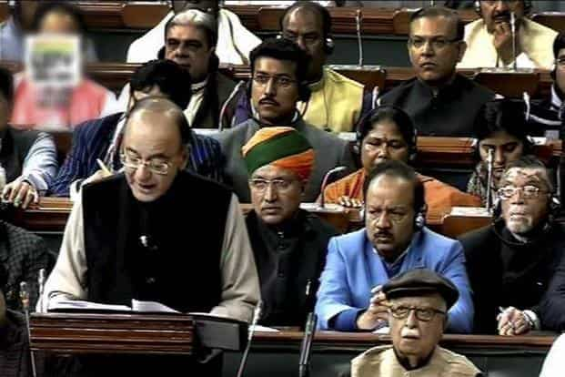 Finance minister delivering the budget speech in the Parliament on Wednesday. Photo: PTI