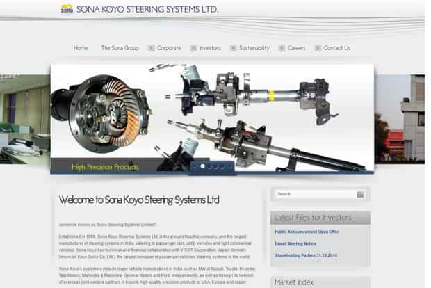Sona Group sells entire stake in Sona Koyo to Japanese partner