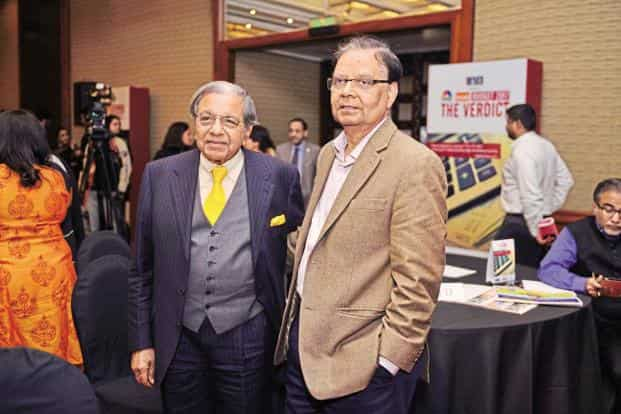N.K. Singh (left), chairman of the Fiscal Responsibility and Budget Management Act Review Committee and former revenue secretary, with Arvind Panagariya, vice-chairman of NITI Aayog.