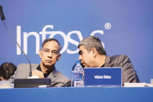 Infosys chairman R. Seshasayee (left) and CEO Vishal Sikka. Photo: Hemant Mishra/Mint