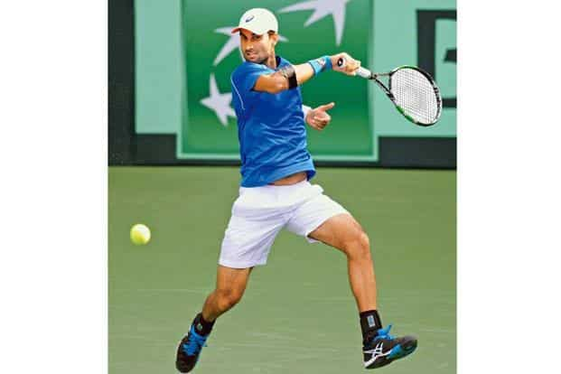 Bhambri during a Davis Cup singles match against New Zealand's Finn Tearney at the Balewadi Sports Complex in Pune on 3 February. Photo: Punit Paranjpe/AFP