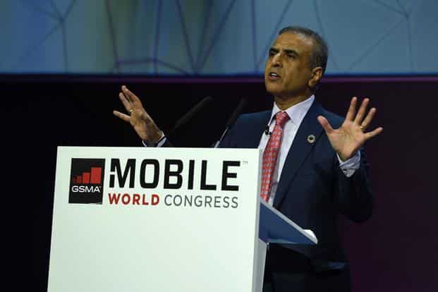 Sunil Bharti Mittal during a keynote speech at the Mobile World Congress in Barcelona on Monday. Photo: AFP