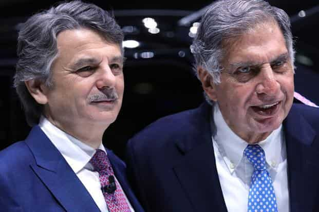 Ralf Speth, CEO of Jaguar Land Rover owned by Tata Motors and Tata Sons chairman emeritus Ratan Tata at the 2017 Geneva Motor Show on Tuesday. Photo: Bloomberg