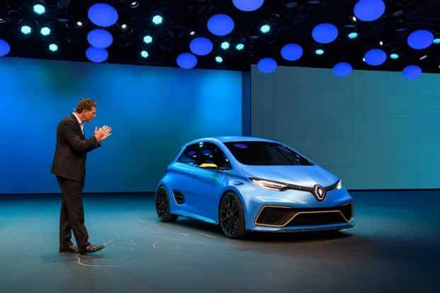 Renault ZOE e-Sport electric vehicle concept at the Geneva Motor Show on Tuesday. Auto firms are investing billions of euros in electric vehicles, self-driving and new mobility services to take on new rivals in Silicon Valley and China. Photo: AFP