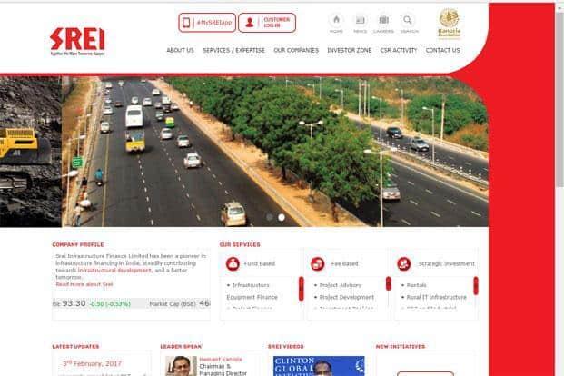 A screenshot of Srei Infrastructure Finance Ltd website.