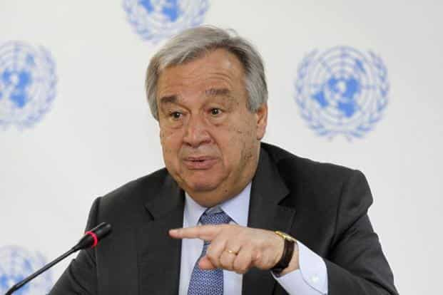 UN spokesperson didn't give a definite timeline as to when the UN chief Antonio Guterres will talk to leaders from India and Pakistan. Photo:  AP