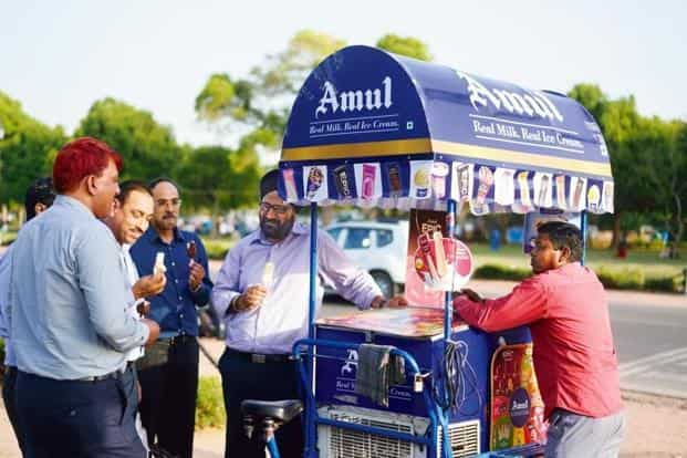 The ad in question is a television commercial and print ad that Amul is running with the tagline 'Real Ice-Cream, Amul Ice-Cream'.
