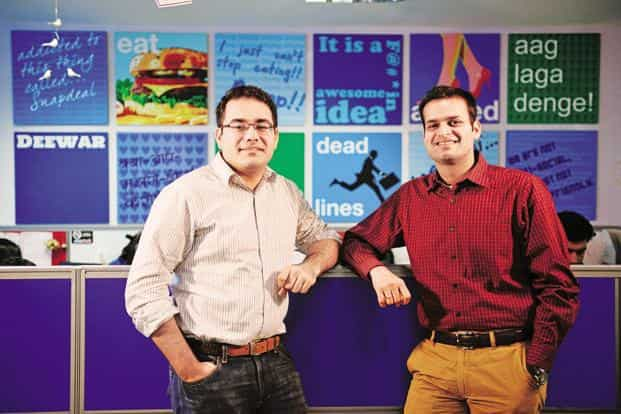 Snapdeal co-founders Kunal Bahl (left) and Rohit Bansal. Snapdeal has for weeks been at the centre of much takeover speculation, with investor SoftBank seen as keen on selling the e-commerce firm to Tiger Global-backed Flipkart. Photo: Pradeep Gaur/Mint