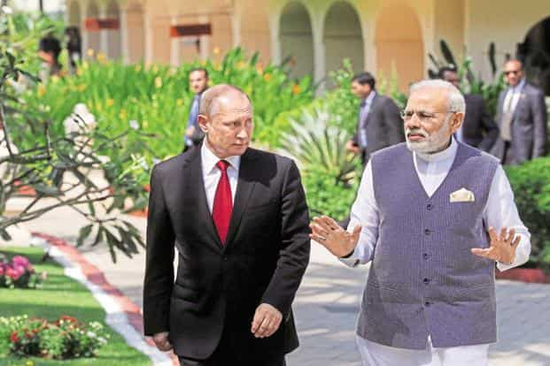 A file photo of Russian President Vladimir Putin and Narendra Modi. INSTC will connect the India Ocean and Persian Gulf with the Caspian Sea through Iran and then onwards to St. Petersburg in Russia and northern Europe. Photo: Reuters