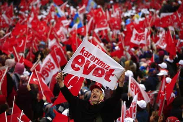 The referendum is about transforming Turkey's parliamentary political system into a presidential one. A 'yes' vote would abolish the post of prime minister, with the president assuming the powers of that office. Photo: AP