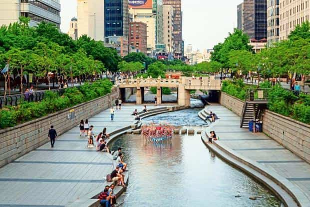 The Cheonggyecheon river walk is a recreation space in downtown Seoul. Photo: iStockphoto