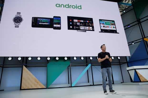 Dave Burke, vice president of engineering, Android, speaks on stage during the annual Google I/O developers conference in California, US on 17 May. Photo: Reuters