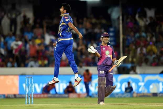 Mumbai Indians' Jasprit Bumrah celebrates the wicket of M.S. Dhoni of Rising Pune Supergiant during the IPL final match in Hyderabad on Sunday. Photo: PTI