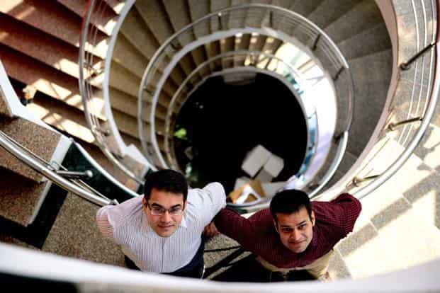 Kunal Bahl (left) and Rohit Bansal, founders of Snapdeal that is up for sale to Flipkart. Photo: Pradeep Gaur/Mint
