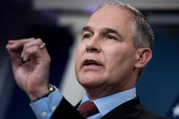 Environmental Protection Agency (EPA) administrator Scott Pruitt speaks during a briefing at the White House on 2 June. Photo: AFP