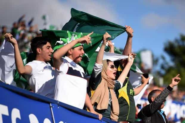Pakistan cricket fans during the ICC Champions trophy match between India and Pakistan at Edgbaston in Birmingham on Sunday. AFP