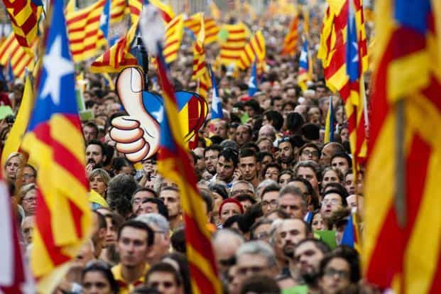 About 2 million people voted in favour of seceding in Catalonia in that non-binding ballot, though turnaround was relatively low in a populous and wealthy region that makes up around a fifth of Spain's economic output. Photo: Bloomberg