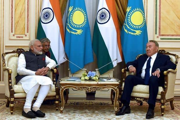 PM Narendra Modi, left, talking with President of Kazakhstan Nursultan Nazarbayev in Astana. Modi is in Astana to attend the Shanghai Cooperation Organisation (SCO) summit. Photo: AFP