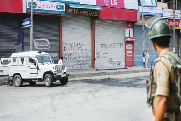 Schools and colleges were closed across the Valley as were business establishments and shops in many places. Photo: PTI