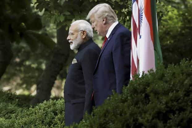 President Donald Trump and Prime Minister Narendra Modi at the Rose Garden in White House on Monday. Photo: AP