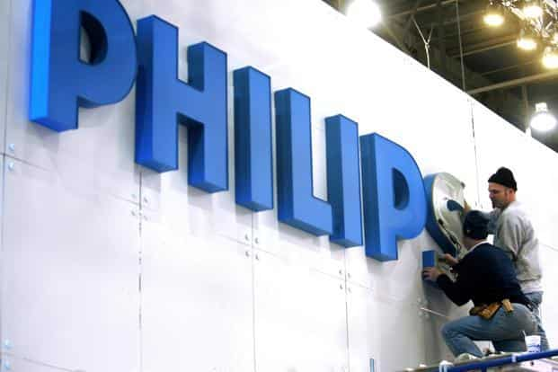 Philips dropped 1.1% to £32.18 at 12:27pm in Amsterdam, where the company is based. Photo: Reuters
