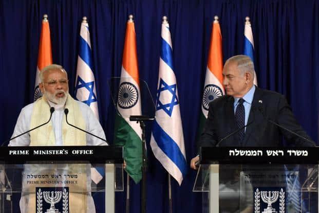 Indian Prime Minister Narendra Modi and Israel PM Benjamin Netanyahu make a joint statement at Benjamin Netanyahu's residence in Jerusalem. Photo: AFP