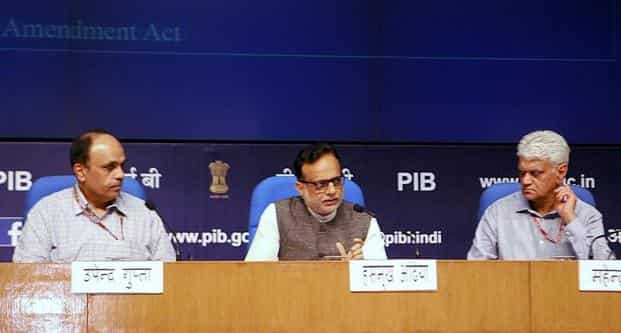 Revenue secretary Hasmukh Adhia along with a team of officers of the department of revenue and Central Board of Excise & Customs, at the Master Classes session 2 on GST, at National Media Centre, in New Delhi on Friday. Photo: PTI