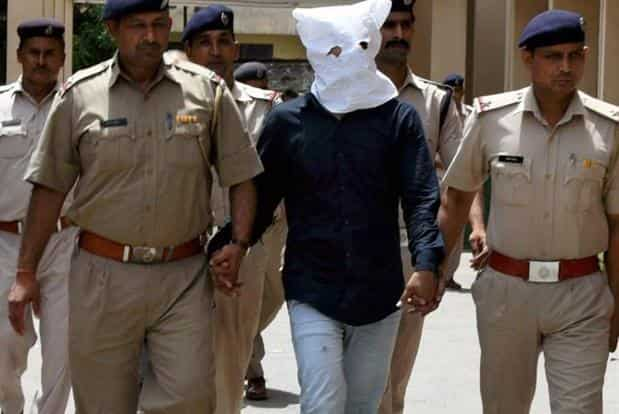 Naresh, the main accused in Junaid Khan lynching case, being produced in district court Faridabad on Sunday. Photo: PTI
