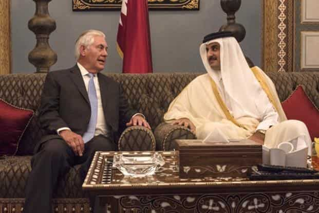 US secretary of state Rex Tillerson meets with the Emir of Qatar, Sheikh Tamim Bin Hamad Al Thani at the Sea Palace, in Doha, on 11 July. Photo: AP