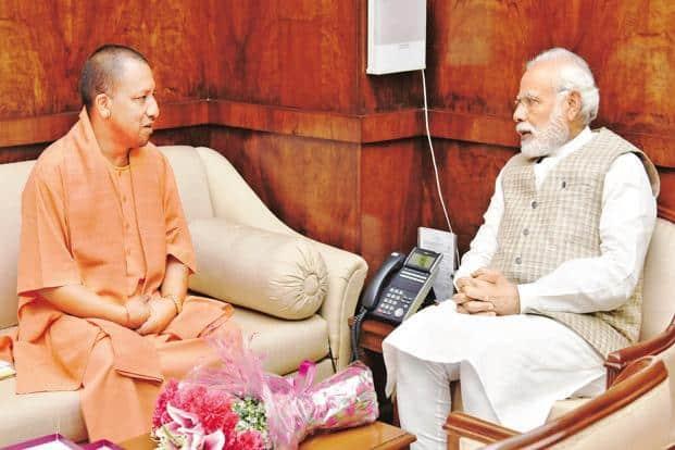A file photo of Prime Minister Narendra Modi with Uttar Pradesh chief minister Yogi Adityanath in New Delhi. Photo: PIB