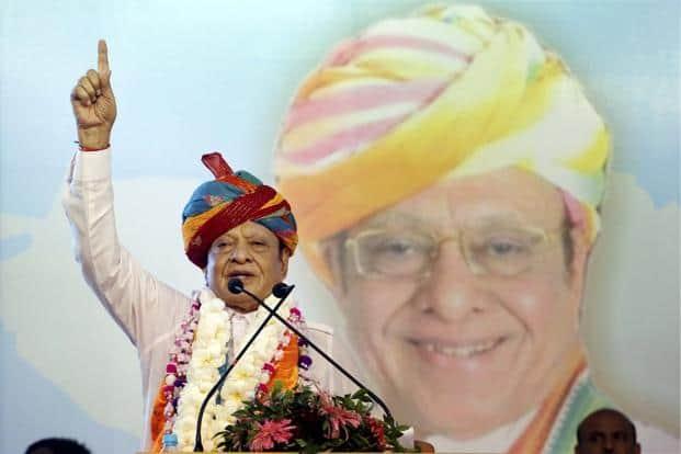 Former Gujarat chief minister and Congress veteran Shankersinh Vaghela addresses a public meeting on his 77th birthday in Gandhinagar on Friday. Photo: PTI