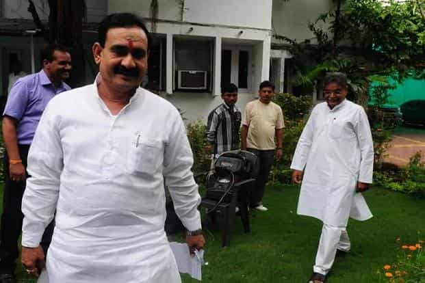 Narottam Mishra (left) is in his fifth term as a BJP legislator and has been a minister since 2003 when Shivraj Singh Chouhan was yet to become the chief minister. Photo: Mujeeb faruqui/Hindustan Times