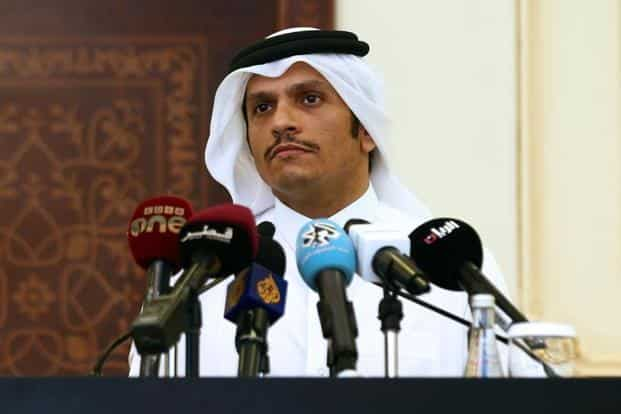Qatari foreign minister Sheikh Mohammed bin Abdulrahman Al-Thani speaks during a press conference in Doha on 2 August. Photo: AFP