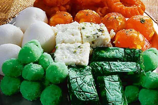 Sweets in hues of the tricolour often make an appearance in shops around Republic Day and Independence Day. Photo: Hemant Mehta