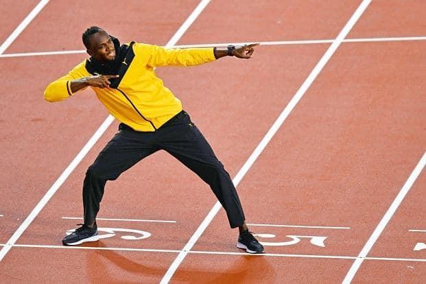 Usain Bolt at the London stadium. Photo: AFP