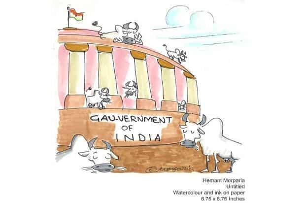 The exhibition brings together cartoons from Morparia's 'Cornered' section in 'Mumbai Mirror'. Courtesy Sakshi Gallery