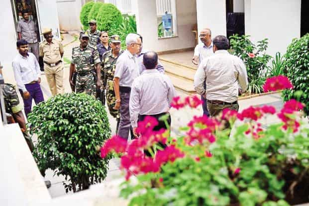 Income tax officials conduct a search on the premises of Karnataka minister D.K. Shivakumar, in Bengaluru. Photo: PTI
